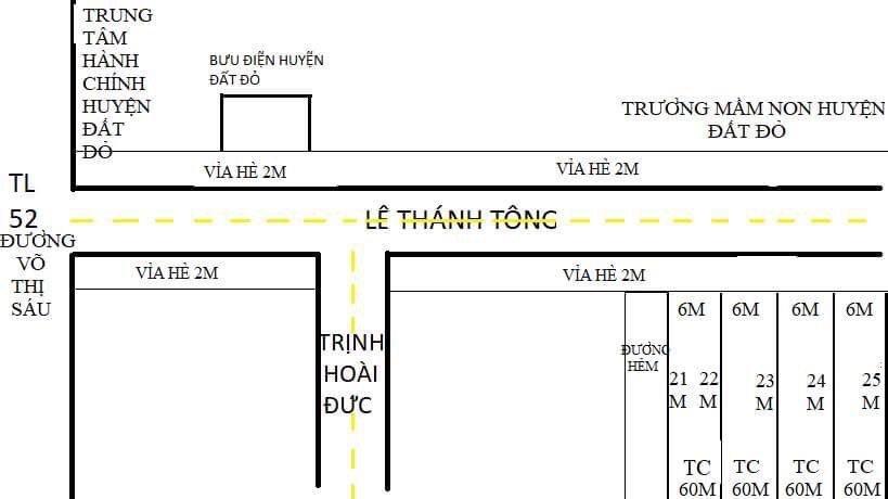 Bán đất đường Lê THánh Tông, TT Đất Đỏ, nằm trong trung tâm hành chính huyện. 150m2, giá 900 triệu